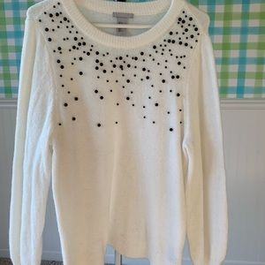 Beaded sweater, ivory with grey beads.